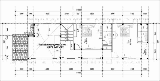 Mặt bằng thiết kế nhà 6x20 mái thái cấp 4 2 tầng