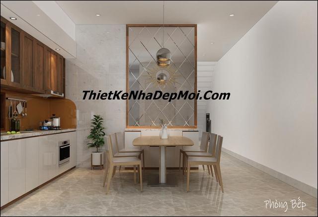 Trang trí nội thất phòng bếp ăn nhà hai mặt tiền hiện đại