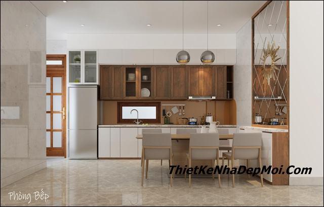 Mẫu nội thất phòng bếp nhà phố hai mặt tiền