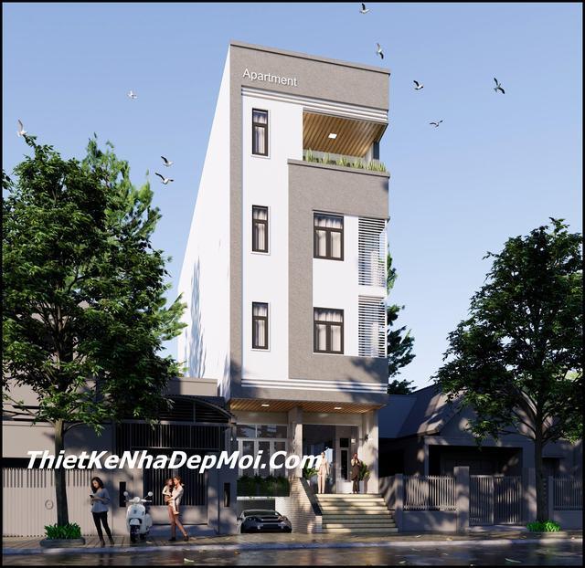 Mẫu căn hộ 4 tầng hiện đại mặt tiền
