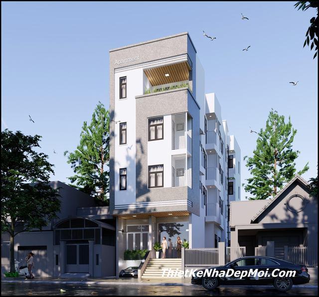 Thiết kế căn hộ 4 tầng có thang máy