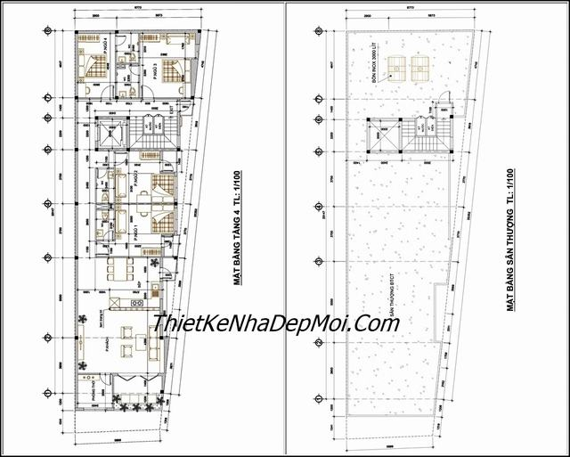 Thiết kế chung cư mini 4 tầng 154m2