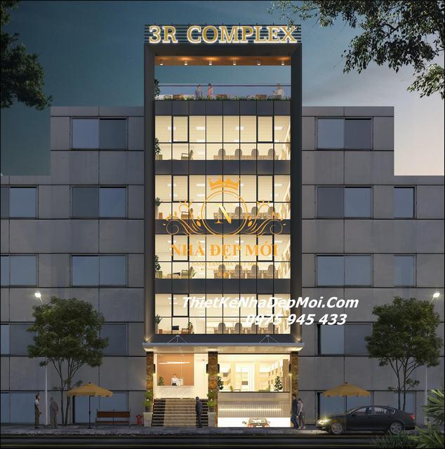 Thiết kế tòa nhà văn phòng hiện đại 7 tầng