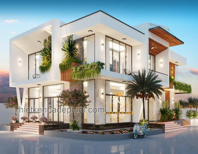 Villa vườn 2 tầng mái bằng