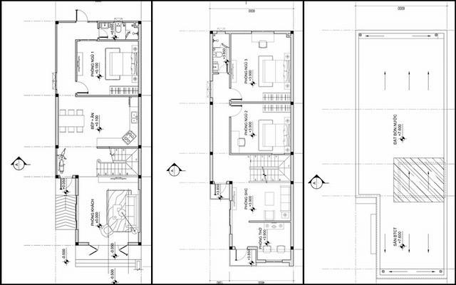 Bản vẽ nhà 2 tầng chữ L 6m