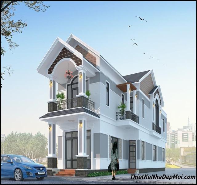 Mẫu nhà 2 tầng 5x20 mái thái 4 phòng ngủ