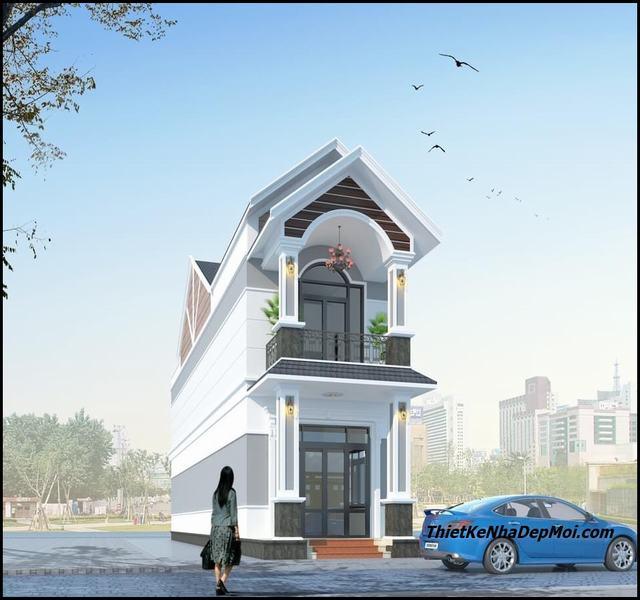 Nhà 5x16 2 tầng mái thái 2021