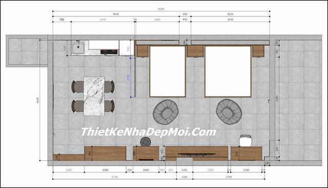 Bản vẽ 2d nội thất căn hộ cho thuê