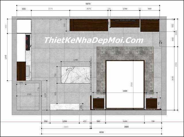 Mặt bằng căn hộ mini 1 phòng ngủ đà nẵng