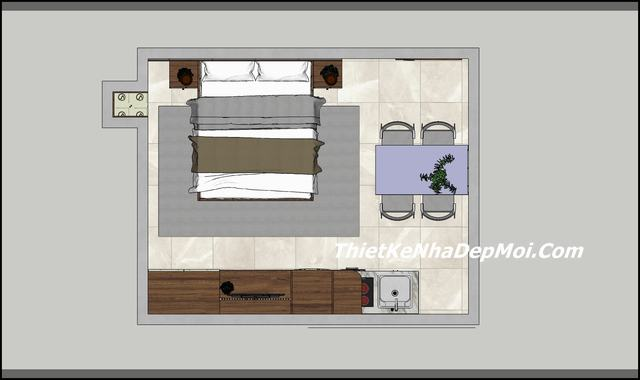Thiết kế nội thất căn hộ mini 38m2