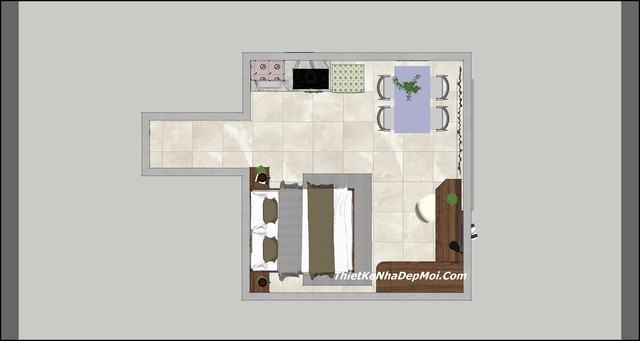 Mặt bằng 2D nội thất căn hộ cho thuê Đà Nẵng
