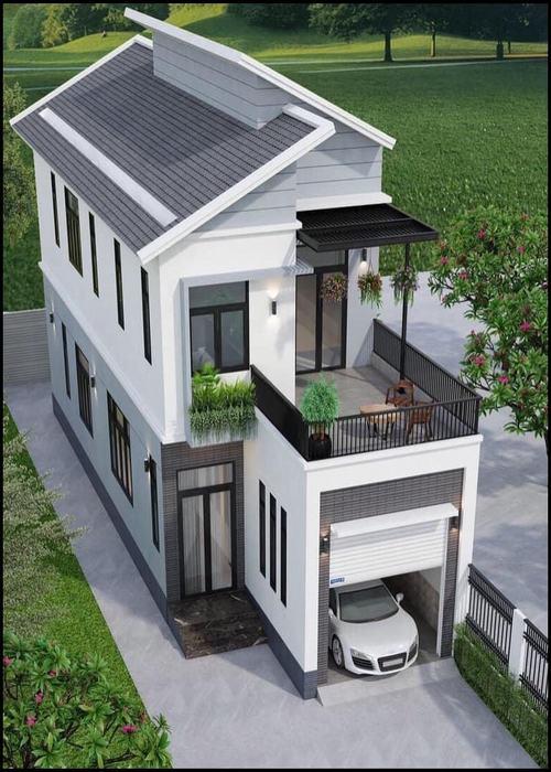 Những mẫu nhà 2 tầng có gara 2021