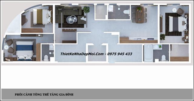 Mặt bằng căn hộ mini 120m2