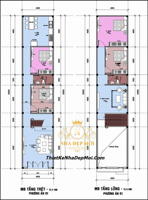 Mặt bằng nhà cấp 4 5x20 4 phòng ngủ