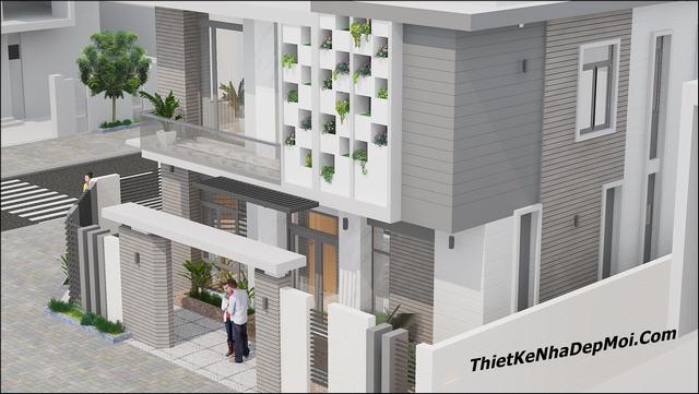 Hình 3D biệt thự mái bằng một trệt một lầu