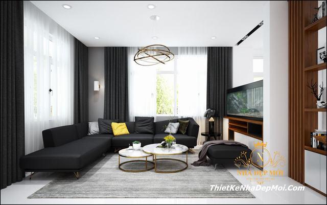 Nội thất phòng khách nhà mái bằng 1 trệt 1 lầu 13x10m