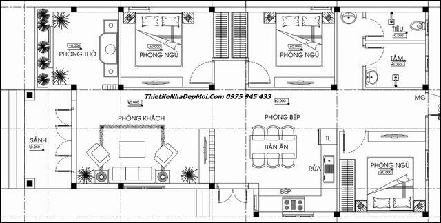 Bản vẽ nhà mái lệch hình chữ L 3 phòng ngủ