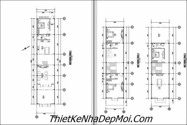 Bản vẽ xây nhà 3 tầng kiểu châu âu