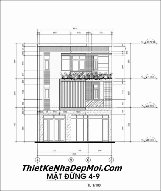 Bản vẽ xây nhà 60m2 3 tầng 3 phòng ngủ