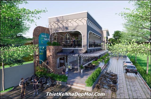 Thiết kế quán trà sừa 2 tầng