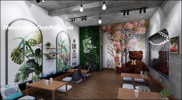 Thiết kế quán trà sữa nhà ống