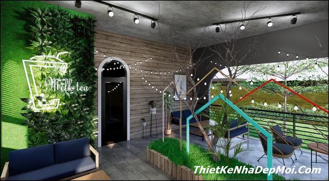 Thiết kế quán kem cafe sân vườn bình dân