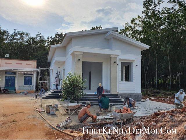 Hình ảnh xây nhà mái lệch 7x18m