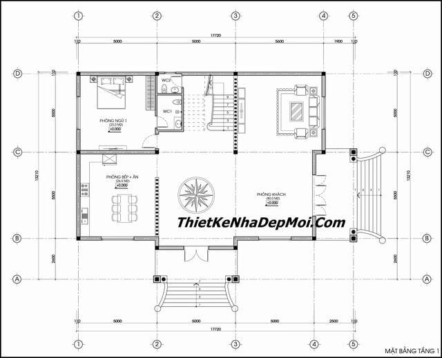 Thiết kế biệt thự cổ điển 2 tầng 13x18m