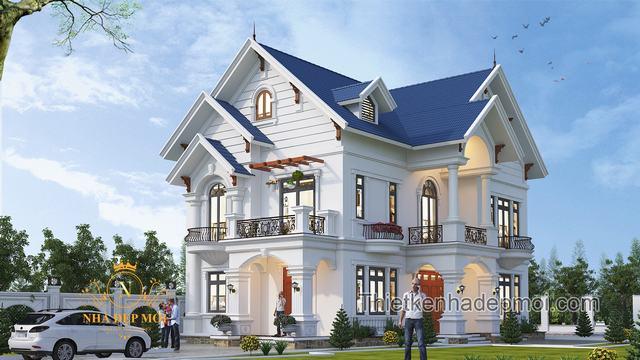Biệt thự bán cổ điển mái thái đẹp nhất 2 tầng nông thôn