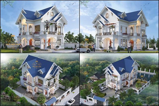 Hai mẫu biệt thự nhà vườn 2 tầng mái thái phong cách kiểu tân cổ điển châu âu trang trí đẹp cho 2 phong thủy tuổi khác nhau của chị Thoa và cô Hạnh bản quyền hình ảnh của NHÀ ĐẸP MỚI năm 2020