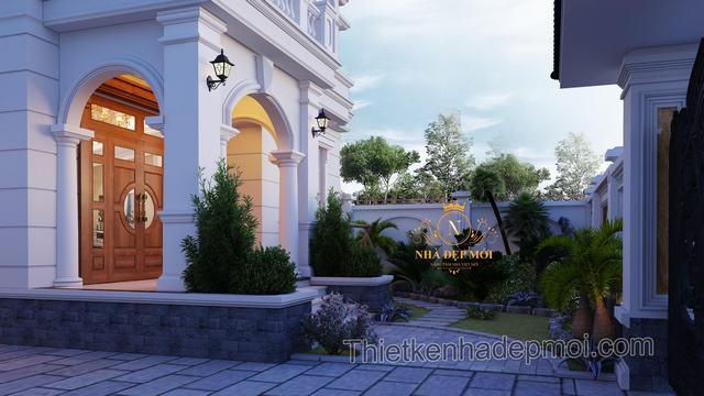 Thiết kế biệt thự sân vườn 2 tầng mini cao cấp