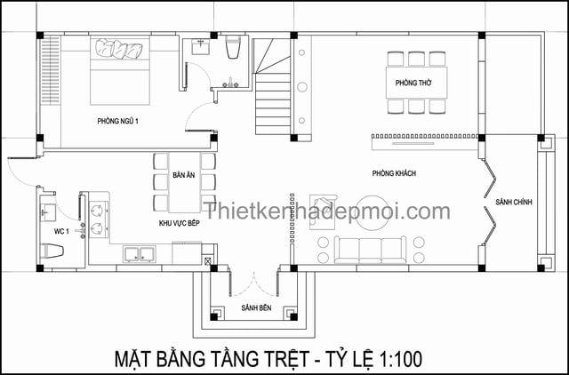 Bản vẽ nhà mái thái 1 trệt 1 lầu 7x13m