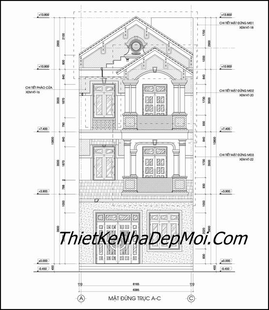 Bản vẽ cad nhà 3 tầng tân cổ điển