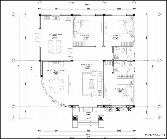Nhà 1 tầng mái ngói 3 phòng ngủ 167m2