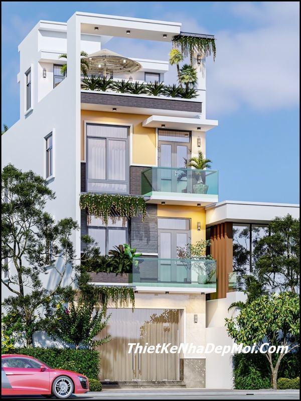nhà mặt tiền 5m 1 trệt 2 lầu 1 sân thượng