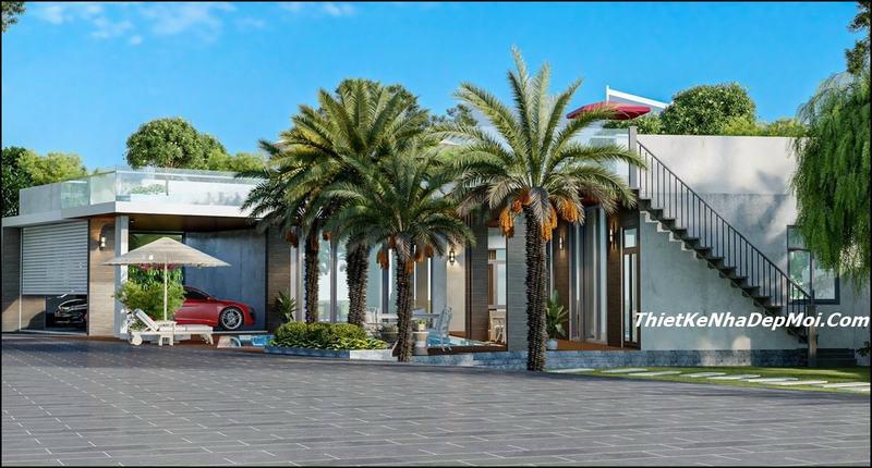 Mẫu nhà cấp 4 sân vườn có sân thượng rộng phía trên làm không gian thư giãn cà phê vừa chống thấm cho sàn bê tông