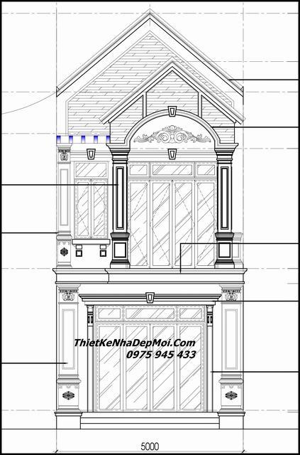 Bản vẽ thiết kế nhà 5x20 2 tầng