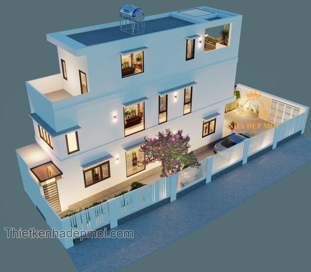 nhà đẹp hóc môn 2.5 tầng 50m2