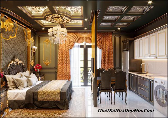 Phòng ngủ nhà phố cổ điển