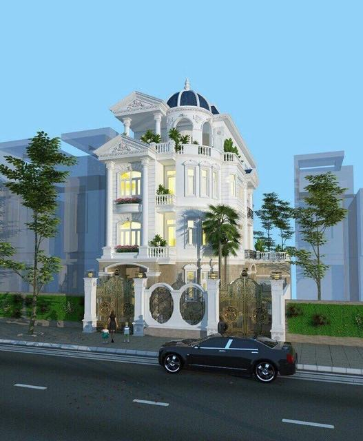 Ảnh nhà phố cổ điển 2 mặt tiền 3 tầng