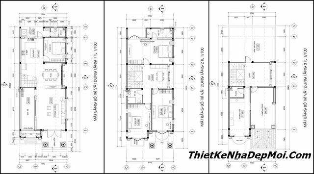 Mặt bằng nhà mặt tiền 7m 2 tầng
