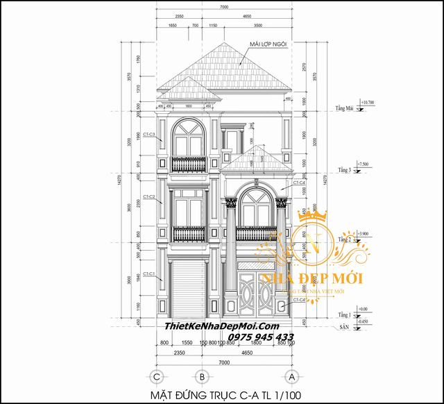 Bản vẽ nhà mặt tiền 7m 2 tầng 1 tum 100m2
