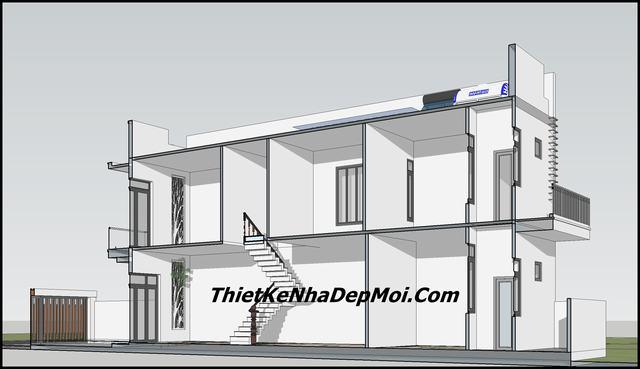 Bản vẽ nhà ngang 5m 3 phòng ngủ