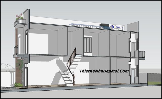 Bản vẽ nhà ngang 5m 2 tầng 80m2