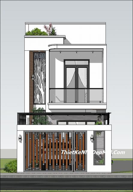 Bản vẽ nhà 2 tầng rộng 5mx16m