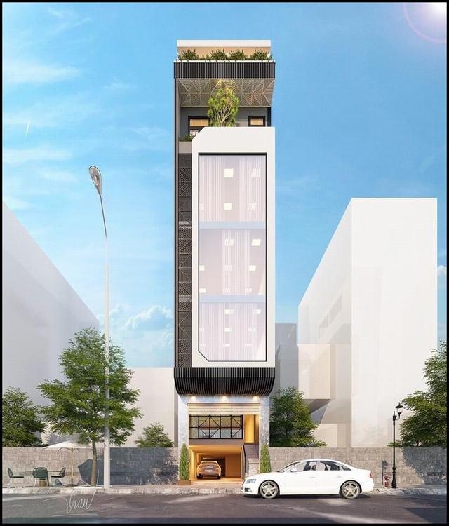 Bản vẽ 3D nhà phố 5 tầng hiện đại