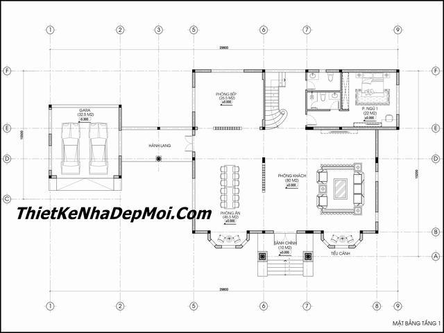 Bản vẽ kiến trúc biệt thự tân cổ điển 2 tầng có gara ngoài