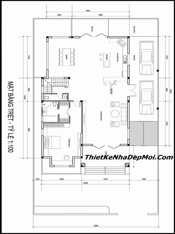 Thiết kế biệt thự sân vườn 3 tầng 15x17m