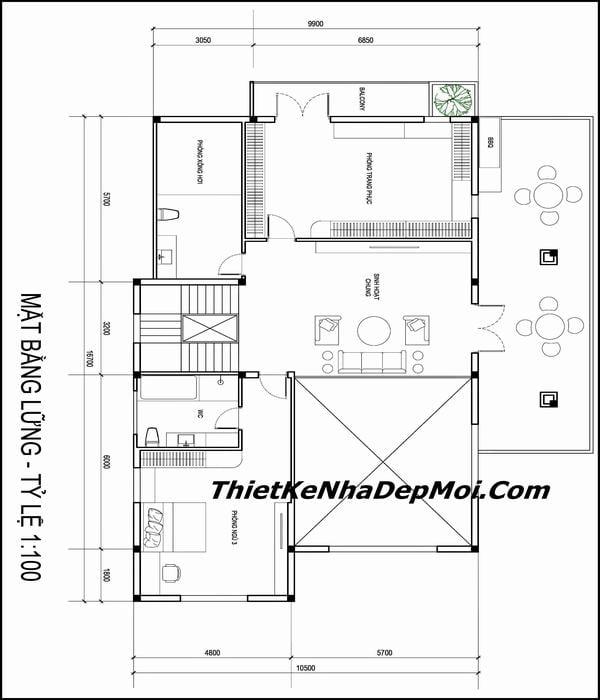 Tầng lửng mẫu biệt thự sân vườn đẹp 3 tầng 15x17
