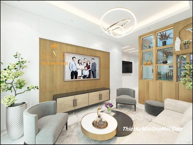Phòng khách nhà ống rộng 5m 1 trệt 1 lầu